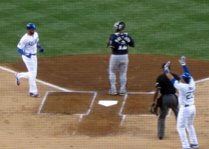 Matt Kemp scores from first base on a double by Andre Ethier but it was a very costly run, as Kemp re-injured his left hamstring in the process. All indications are that Kemp will be lost for up to 4 weeks.