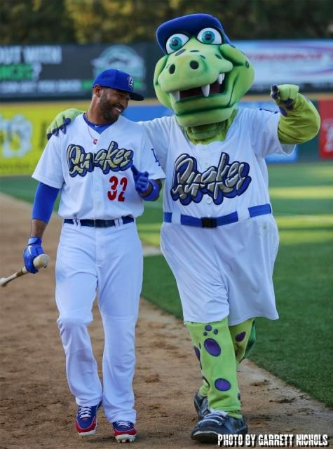 Matt Kemp receiving some batting tips from Tremor. (Photo submitted by Garrett Nichols)