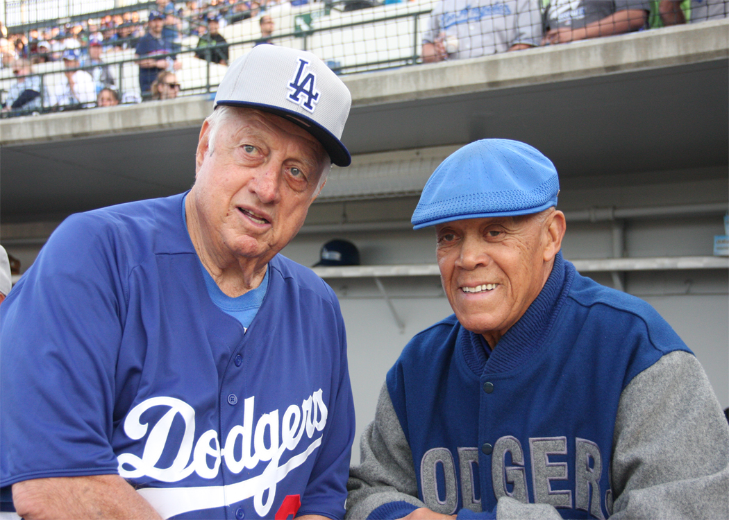 Two Dodgers legends - Hall of Famer Tommy Lasorda and 1963 NL MVP Maury Wills. (Submitted by Garrett Nichols on 3-28-13)
