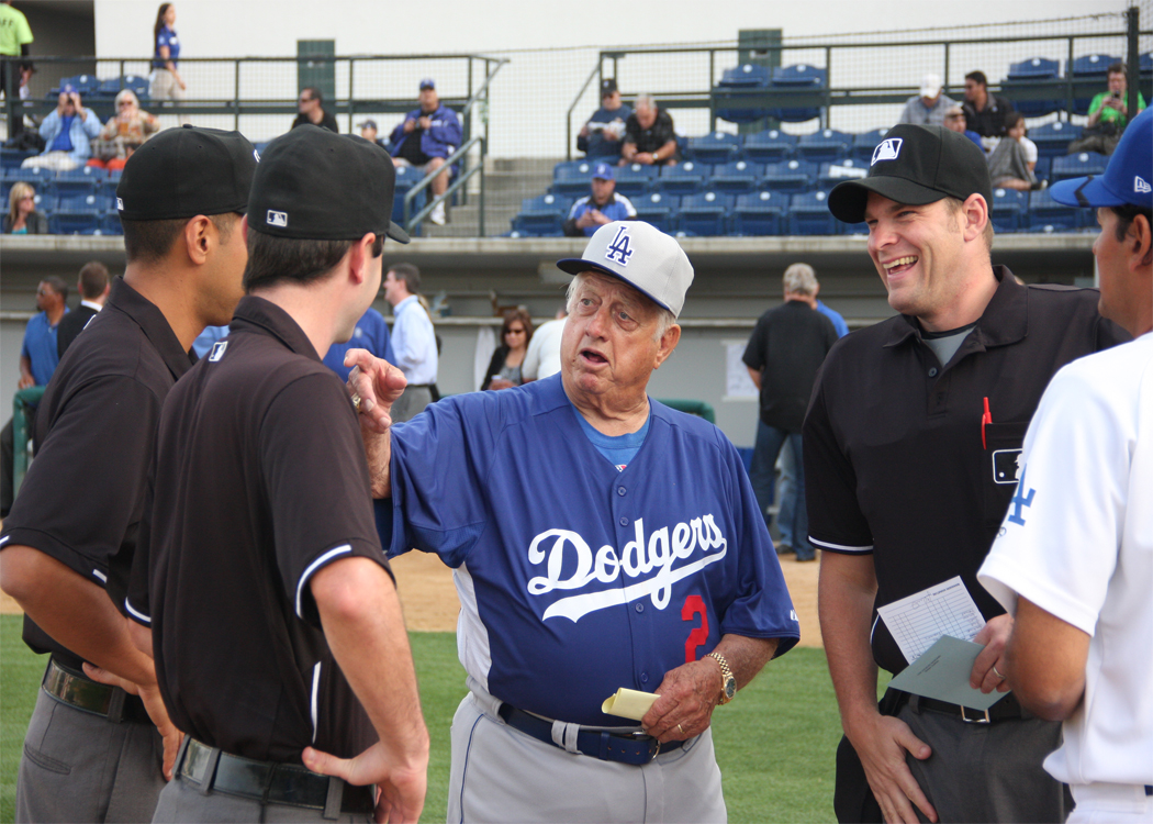 Tommy splainin' things to the umpires before the exhibition game between the Dodgers and Quakes at Rancho Cucamonga. (Submitted by Garrett Nichols on 3-28-13)