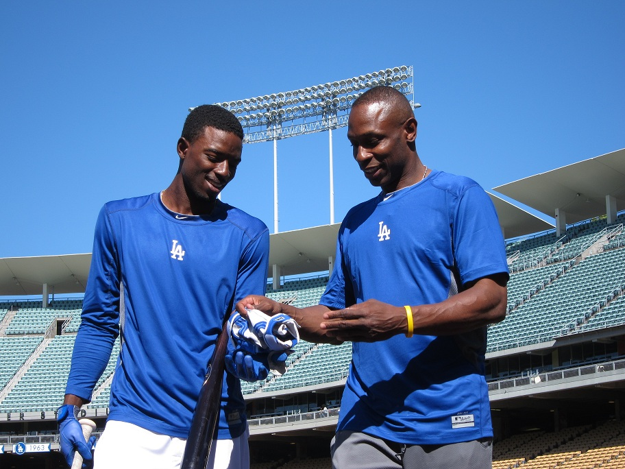 Former Dodger Kenny Lofton spent considerable time working with Dee Gordon on his base running during the 2013 season. (Photo credit - Ron Cervenka)