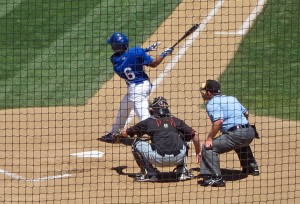 Quakes center fielder Leon Landry continued his hot hitting with this bases-clearing 3-run double off of the wall  in the 4th inning of Sunday's heartbreaking loss to the Bakersfield Blaze. Landry missed hitting a grand slam by two feet.
