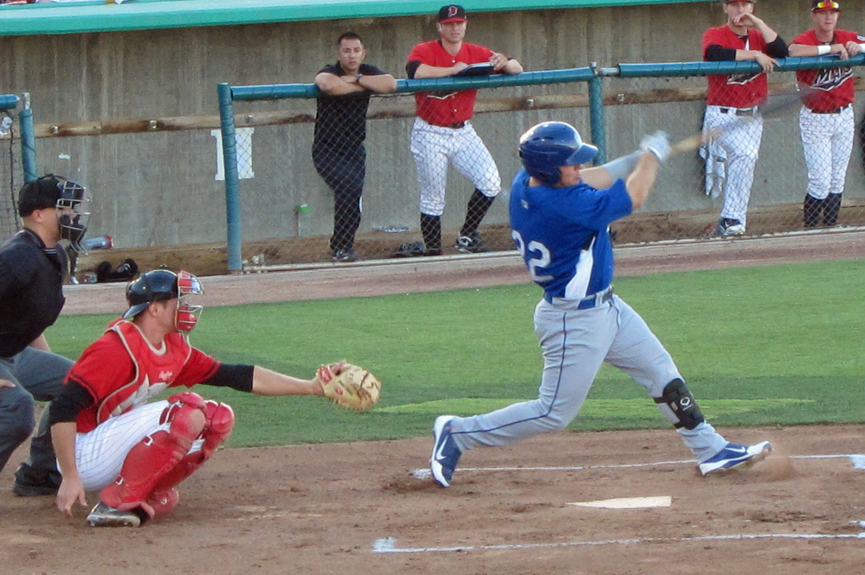 Quakes third baseman C.J. Retherford tees off for a 1st inning home run and went 5 for 5 on an otherwise dismal night. Retherford has been the Quakes hottest hitter over the past month and figures to have a major role in the Quakes quest for the Cal League South second half title.