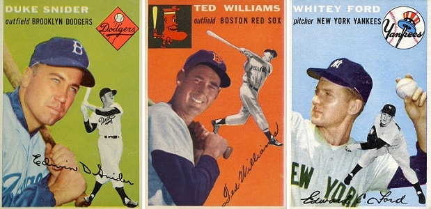 1954 Topps Duke Snider, Ted Williams and Whitey Ford