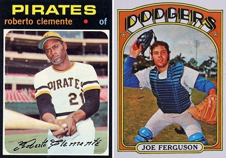 "The coveted 1971 Clemente card and a ""funky"" 1972 Topps card no offense to Joe Ferguson intended)"