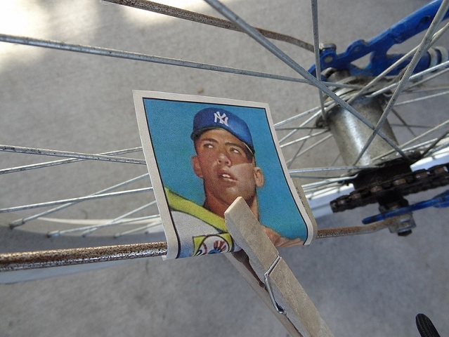 Yes, that's a 1953 Mickey Mantle card on the spokes of that bicycle tire. If we only know. (Photo credit - Jim Degerstrom)