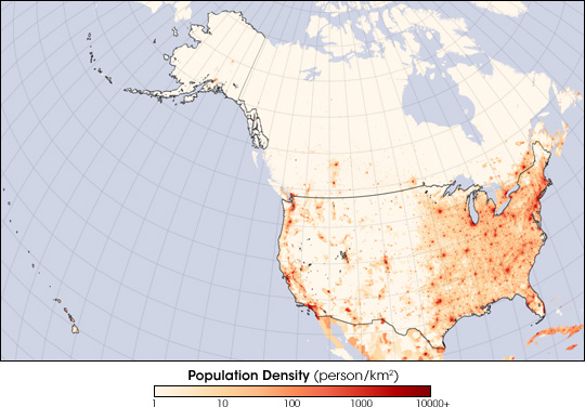 This 2006 population density map clearly shows where most of the people live.