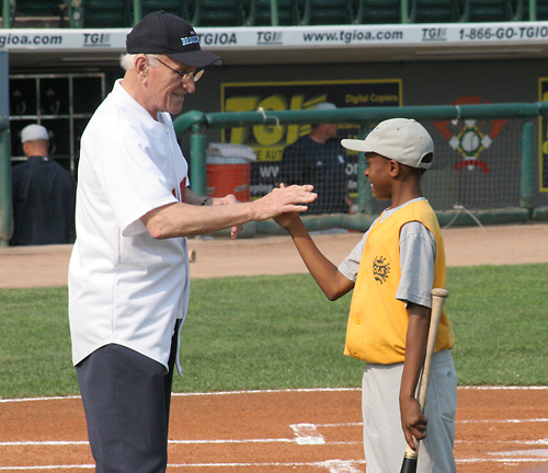 "On July 20, 2008, George ""Shotgun"" Shuba reenacted his famous 'Handshake for a Century' at KeySpan Park in Brooklyn. Imagine the excitement that this young man felt shaking the hand that shook Jackie Robinson's hand. (Photo credit - Gary Thomas)"