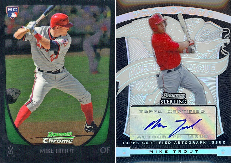 There are so many Bowman Chrome series available that it boggles the mind. But what really boggles the mind is that the Mike Trout rookie card on the left goes for about $10 and the one on the right goes for $10,000.