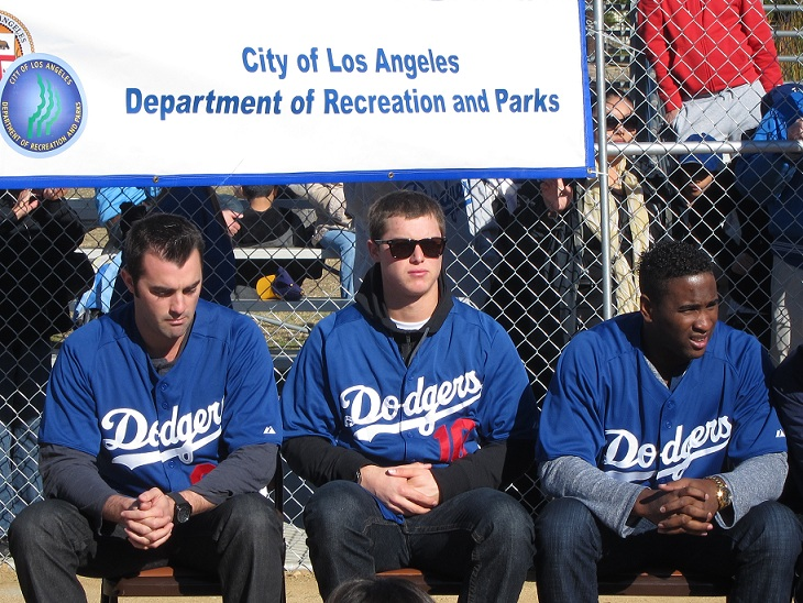 Top Dodgers prospects Matt McGill, Joc Pederson and Onelki Garcia were on hand at Saturday's Dodgers Dreamfield dedication and then put on a baseball clinic for the youngsters in attendance.(Photo credit - Ron Cervenka)