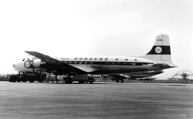 When O'Malley was unable to get the Lockheed Electra II that he wanted, he had to settle for this DC-6B which the Dodgers used for only the 1961 season. (Photo credit - Ed Coates)