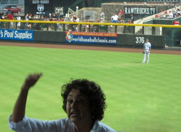 Andre Ethier's mom Penny enjoying the fruits of her efforts with her son manning right field.(Photo credit - Ron Cervenka)