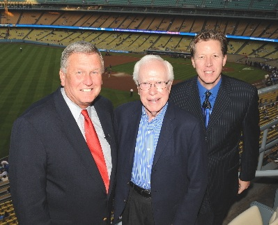 Dr. Jobe is flanked by two of his most famous former patients - Tommy John and Orel Hershiser.(Photo credit - Jon SooHoo)
