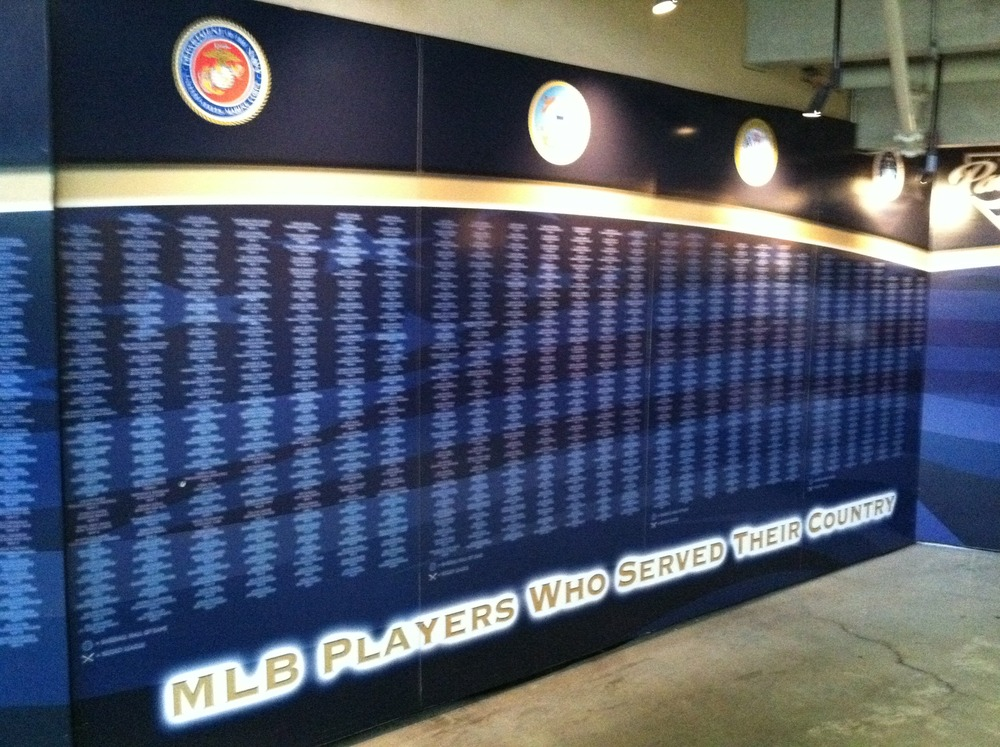 Petco Park in San Diego has a wall honoring MLB players who have served in the military. (Photo courtesy of gaslampball.com)