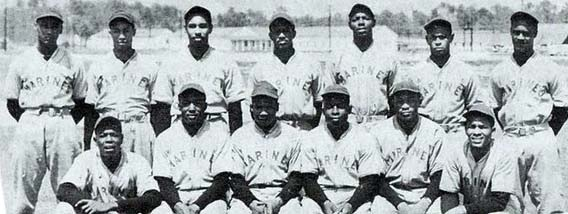 While in the Marines, Bankhead player for the Montford Point Marines baseball team.(Photo courtesy of commandposts.com)