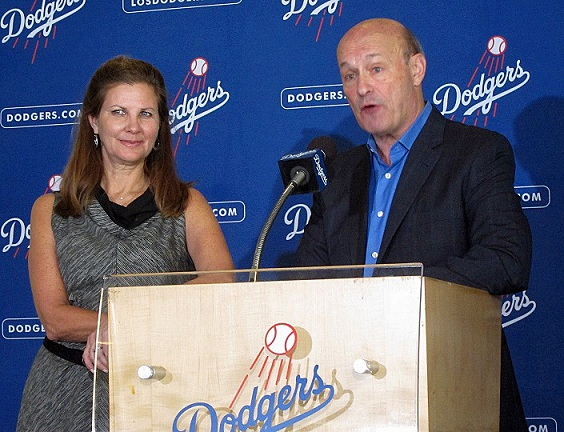 Dodgers Sr. Vice President Janet Marie Smith and President and CEO Stan Kasten were clearly excited about the renovations and improvements at Dodger Stadium.(Photo credit - Ron Cervenka)