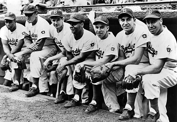 The Boys of Summer - Jackie Robinson, Don Newcombe, Preacher Roe, Roy Campanella, Pee Wee Reese, Gil Hodges and Duke Snider (AP photo)