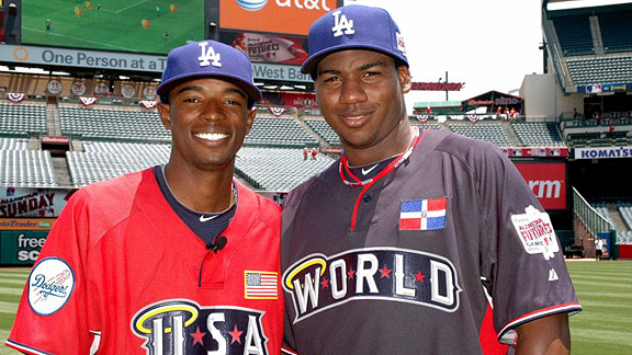 Dee Gordon poses for a photo with Pedro Baez during workouts for the 2010 All-Star Futures Game in Anaheim. Baez also appeared in the 2009 Futures game. (Photo courtesy of espn.com)