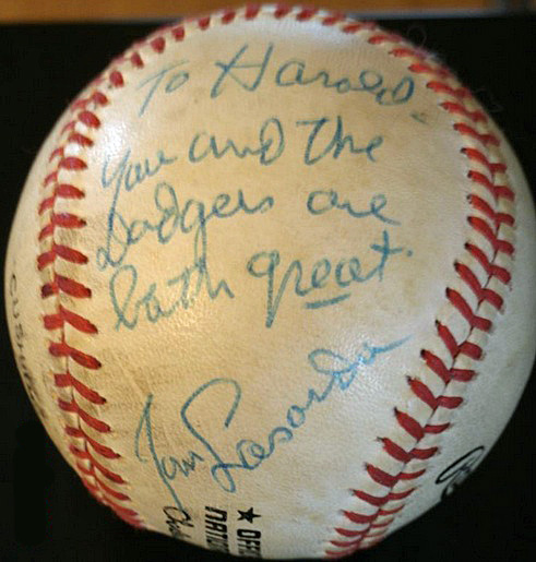 I hope to get Tommy to sign his  rookie card for me at this year's spring training to go along with this ball that he signed for me the last time I went to spring training 29 years ago. (Photo credit - Harold Uhlman)