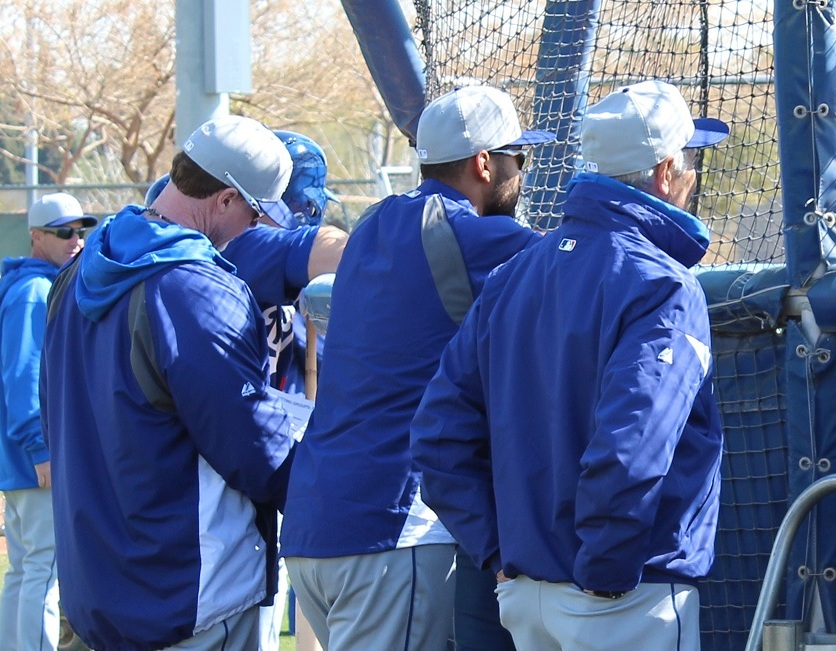 Mark McGwire, Matt Kemp and Sandy Koufax watching live pitch batting practice. Talk about some high power power. (Photo credit - Ron Cervenka)