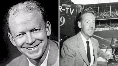 Brooklyn Dodgers broadcaster Red Barber handed over his microphone to a young 23-year-old Vin Scully in 1950. (AP Photos)