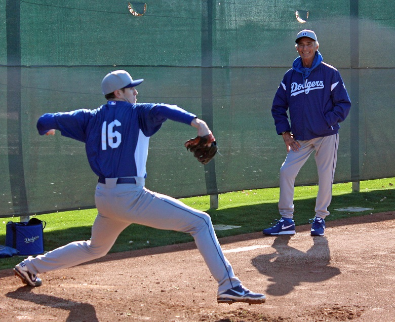 It's quite obvious that Dodger great Sandy Koufax had a blast working with the young Dodger pitchers at spring training. (Photo credit - Ron Cervenka)