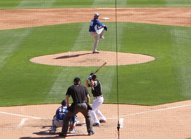 Korean southpaw Hyun-jin Ryu also looked good in his Dodger debut allowing only one hit in his one inning of work. (Photo credit - Ron Cervenka)