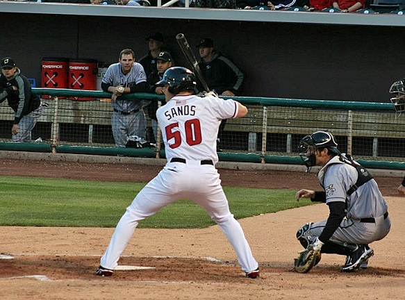 While pitchers hated Isotopes Park, hitters like Jerry Sands loved it. On July 29, 2012, Sand hit two grand slams and collected 10 RBIs to tie a PCL record. (Photo credit - Evan Chavez)