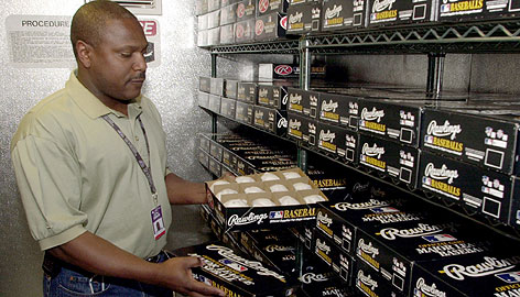 Longtime Colorado Rockies engineer Tony Cowell is in charge of the 400 dozen baseballs kept in the Coors Field humidor. (Photo credit - Ed Andrieski)