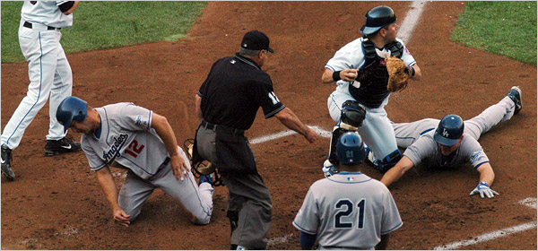 There isn't a Dodger fan alive who will ever forget this defining moment of the 2006 NLDS when Jeff Kent and J.D. Drew were thrown out at the plate by Shawn green - on the same play. (Getty images)