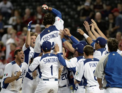 Team Italy is up two games to none in WBC competition. A win today over Team USA will advance them to the next round. Who would have thought it? (Photo credit - Ezio Ratti)