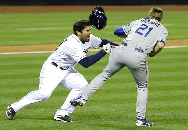 Zack Greinke never backed away from mentally deranged Padres outfielder Carlos Quentin when Quentin charged the mound after being hit by a pitch. (Photo credit - Lenny Ignelzi)