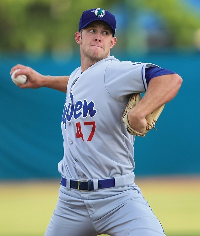 In his first two starts with the Quakes, Caughel is 2-0 with an ERA of x.xx, while striking out X and walking only x. (Photo credit - Dean Humphrey)