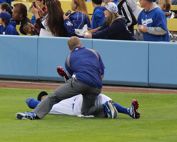 Matt Kemp is one of the few Dodger players who chooses to get stretched out on the field before every game. Many of the other Dodger players do so in the workout room in the Dodger clubhouse. (Photo credit - Ron Cervenka)