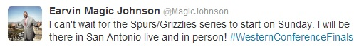 Are you kidding me? Magic Johnson is sending out Tweets like this when his Dodgers are bleeding to death?