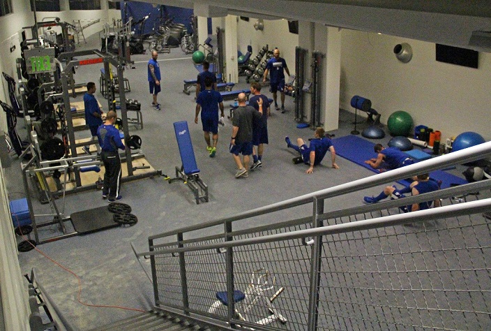 Part of the $100 million in stadium renovations included this state-of-the-art weight room where most of the Dodger players get stretched out before the games. (Photo credit - Ron Cervenka)