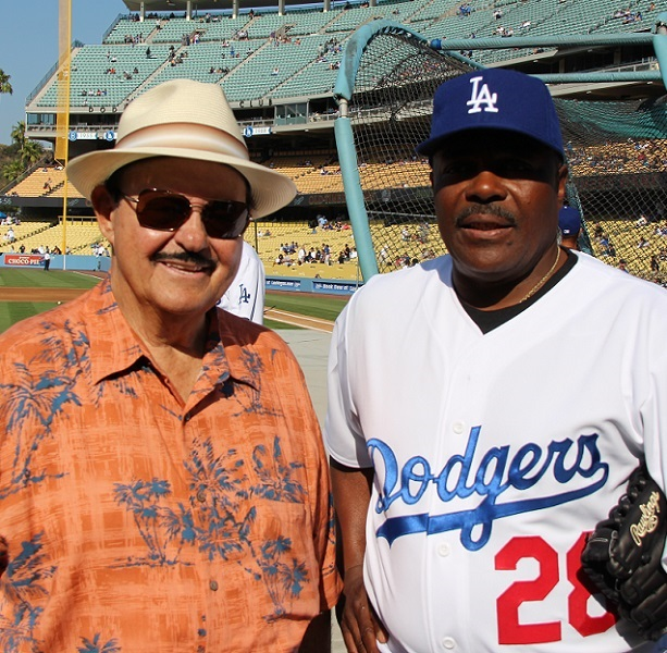 Longtime Dodger scout Mike Brito and Dodger slugger Pedro Guerrero.