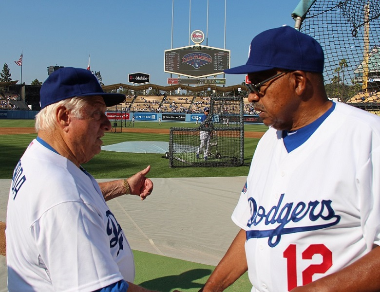 Hall of Fame manager Tommy Lasorda and two-time NL Batting Champion Tommy Davis.