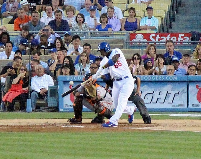 Since making his major league debut on June 3, 2013, Yasiel Puig has more 3 for 4 games (4) than he does 0 for 4 games (2). (Photo credit - Ron Cervenka)