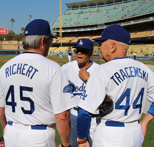 1963 World Series Champions Pete Richert, Maury Wills and Dick Tracewski.