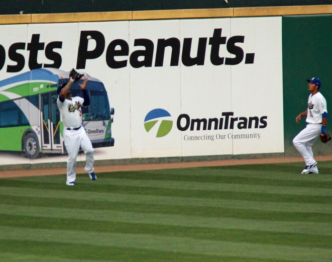 Crawford made several defensive plays on Tuesday night including an over the shoulder catch again the wall. This catch here was a can of corn for the veteran left fielder. (Photo credit - Ron Cervenka)