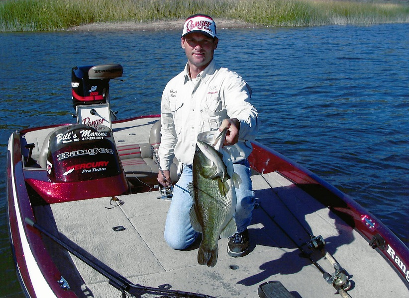 Crim's favorite bait for catching largemouth bass is a Huddleston Deluxe trout imitating swimbait. He has caught several bass over 10 pounds on the bait.