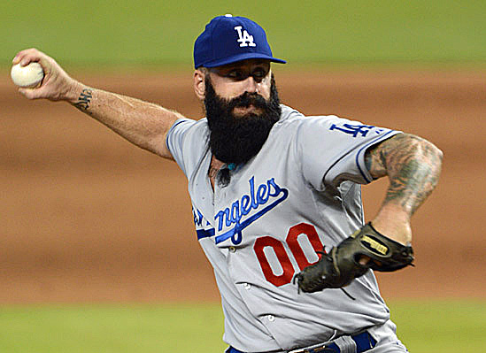 Dodger manager Don Mattingly liked what he saw in Brian Wilson in his Dodger debut on Thursday in Miami. (Photo credit - Jon SooHoo)