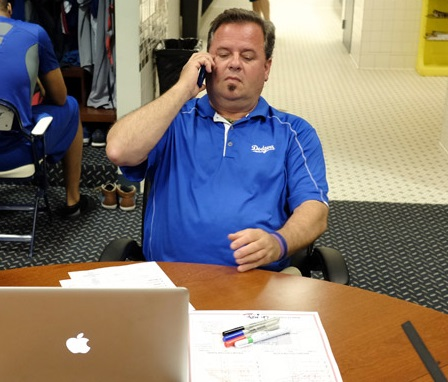 Dodger Clubhouse Manager Mitch Poole's day usually begins early every morning at home and doesn't end until after midnight. (Photo credit - Jon SooHoo)