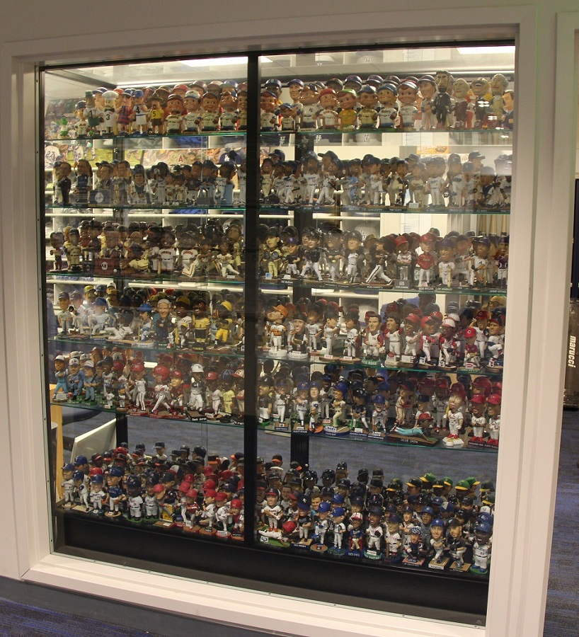 Poole estimates that he has upwards of 600 bobble heads. He was touched when the Dodgers built a display case for his collection during renovations at Dodger Stadium last off-season. (Photo credit - Ron Cervenka)