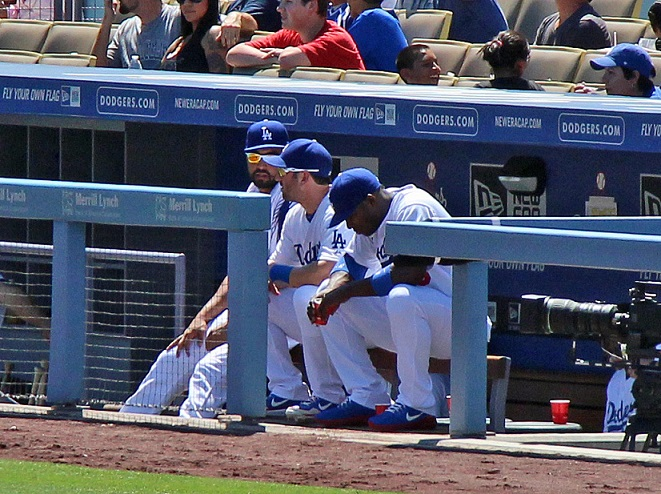 The only thing worse than the actual butt-chewing is waiting for it to happen. Puig is seen here only minutes after being pulled from Wednesday afternoon's game. (Photo credit - Ron Cervenka)