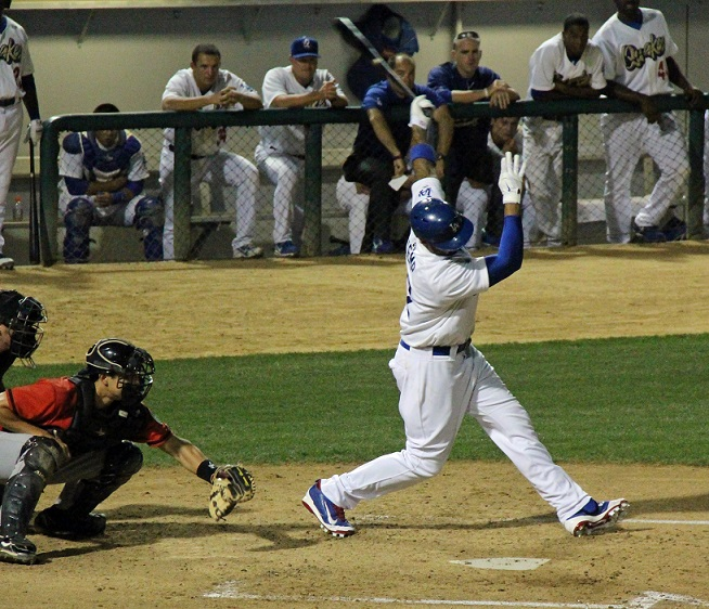 Kemp chases a slider low and away for the first of his seven strikeouts. (Photo credit - Ron Cervenka)