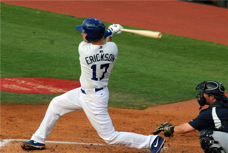 The Dodgers brought homegrom catching prospect Griff Erickson back into the fold on Tuesday, sighing the 26-year-old free agent to a minor league contract with an invitation to big league spring training camp. (Photo credit - Tim Evearitt)