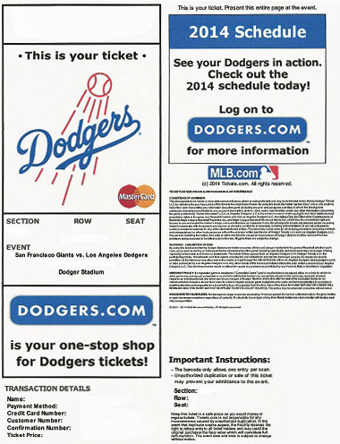 Could this be more about the Dodgers saving money on printing and shipping than going paperless? Because it sure doesn't look paperless to me.