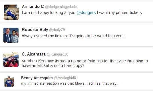 These are only a few of the tweets posted afte the Dodgers announced that they were going paperless with their tickets.